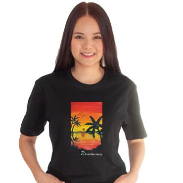 เสื้อยืดดำพิมพ์ลาย-ทะเลยามเย็น-บ้านคามิลเลี่ยน-tshirt