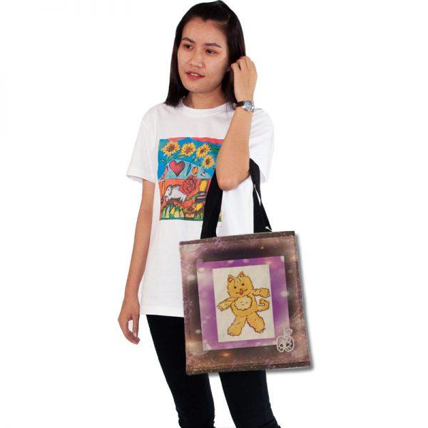 กระเป๋าผ้าพิมพ์ลาย-แมวอวกาศ