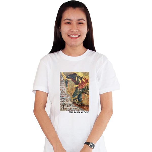 เสื้อยืดขาวพิมพ์ลาย-ความล้ำค่าของช้างไทย-อี๊ดเมืองน่าน