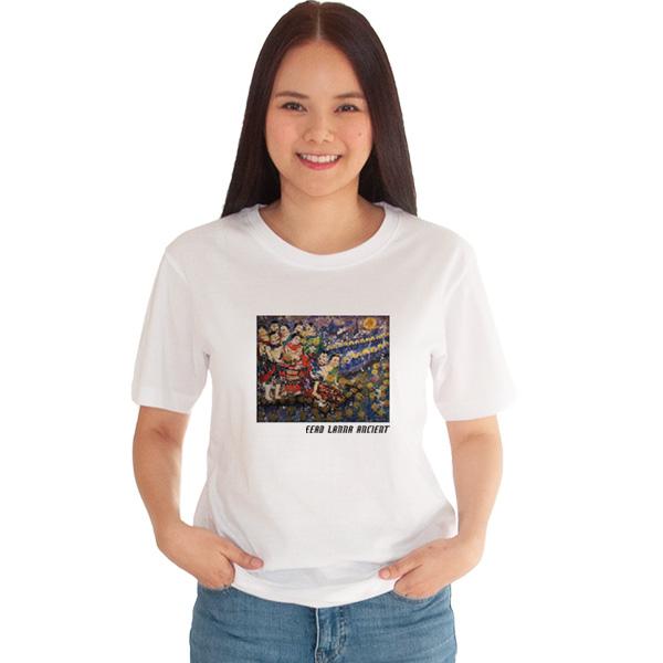 เสื้อยืดขาวพิมพ์ลาย-หนุ่มสาวลอยกระทง-อี๊ดเมืองน่าน