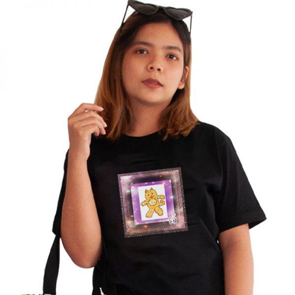 เสื้อยืดดำพิมพ์ลาย-แมวอวกาศ