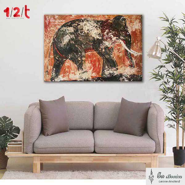 กรอบรูปพิมพ์ลาย-ความสง่างามของช้าง-อี๊ดเมืองน่าน-12t-n
